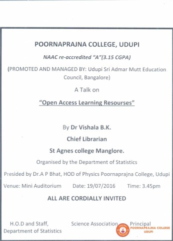 A guest lecturer on Open Access Learning Resources by Dr, Vishala B K