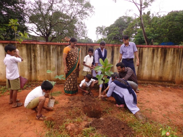 planting sapples on the  vanamahothsava at adi udupi primary school