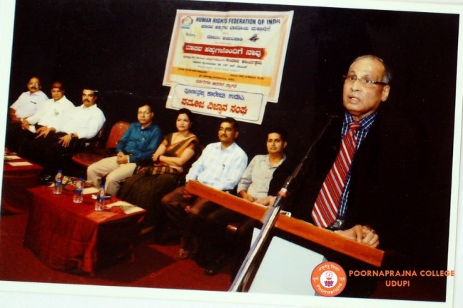 Special talk on Common Man and Human Rights by Nadoja Justice Dr. S R Nayak on 10-08-2015