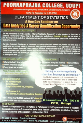 Day long seminar on data Analytics