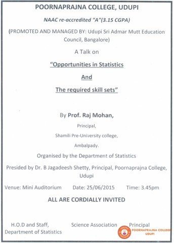 Guest lecturer on Opportunities in Statistics